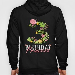 3rd Birthday Princess 3 Years Old Girl Floral B-day Theme print Hoody