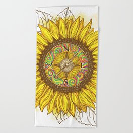 Sunflower Compass Beach Towel