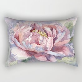 Pink Peonies Watercolor Flowers Peony Painting Floral art print Rectangular Pillow