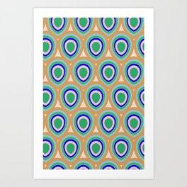 Boho Peacock - Blue Green Art Print