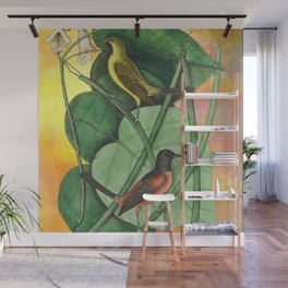 Orioles with Catalpa Tree, Natural History, Vintage Botanical Collage Wall Mural