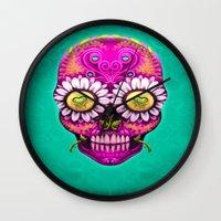 sugar skull Wall Clocks featuring Sugar Skull by Mr Grin