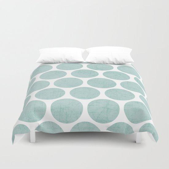 robins egg blue polka dots duvet cover by her art society6. Black Bedroom Furniture Sets. Home Design Ideas