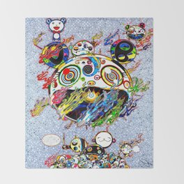 Takashi Murakami with Signature - Chaos Print Throw Blanket