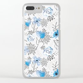 Blue Watercolor Pattern 2 Clear iPhone Case