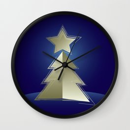 Golden Christmas tree Wall Clock