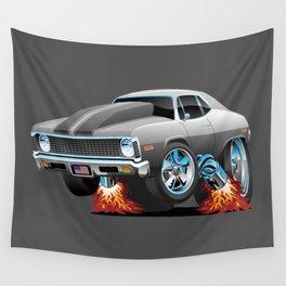 Classic American Muscle Car Hot Rod Cartoon Wall Tapestry