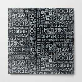 Photography Terms Word Pattern Glass on Black Metal Print