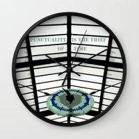 oscar wilde Wall Clocks featuring Oscar Wilde #4 Thief of Time by bravo la fourmi