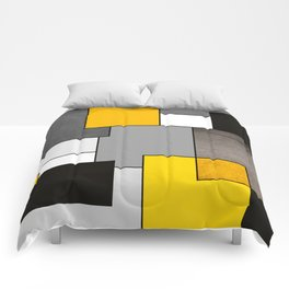 Black Yellow and Gray Geometric Art Comforters