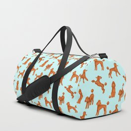 Red Poodles Pattern (Light Blue Background) Duffle Bag