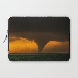 Silhouette - Large Tornado at Sunset in Kansas Laptop Sleeve