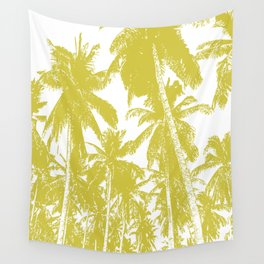 Palm Trees Design in Gold and White Wall Tapestry