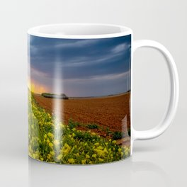 Yellow Flower Road - Path of Wildflowers Lead Into Texas Sunset on Stormy Evening Coffee Mug