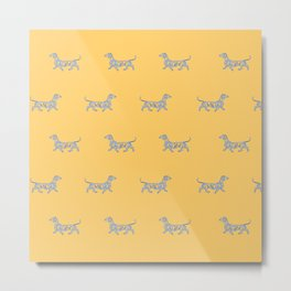 Colorful Swirl Dachshund Print in Summer Yellow and Mint Metal Print