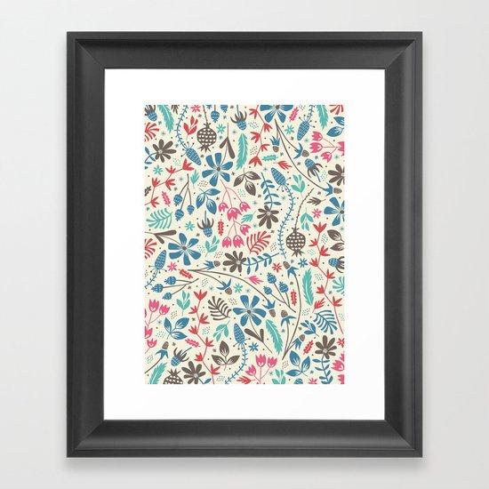 Retro Blooms Framed Art Print