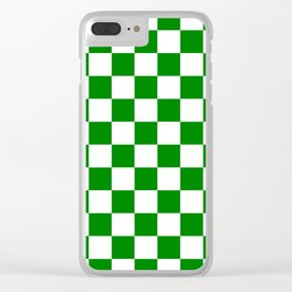 Checkered - White and Green Clear iPhone Case