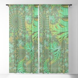 Green Fractal Sheer Curtain