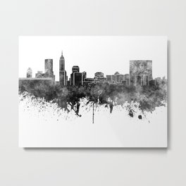 Indianapolis skyline in black watercolor on white background Metal Print