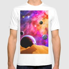 Space Solitude White Mens Fitted Tee MEDIUM