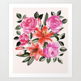 Roses and Lilies in watercolor Art Print