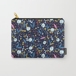 Ditsy Folk Dark Floral Pattern Carry-All Pouch