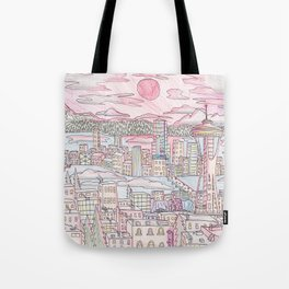 Seattle in Colored Pencil Tote Bag