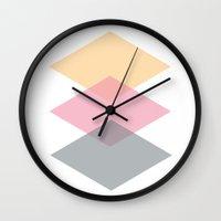 nursery Wall Clocks featuring Nursery Triangles  by MarianaLage