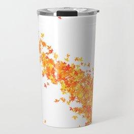 Maple Leaves on White Travel Mug
