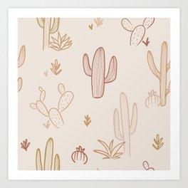 California Dreaming - Cactus Pattern Art Print