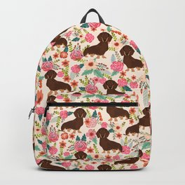 Doxie Florals - vintage doxie and florals gift gifts for dog lovers, dachshund decor, chocolate and Backpack