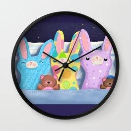 Very Sleepy Bunnies Wall Clock