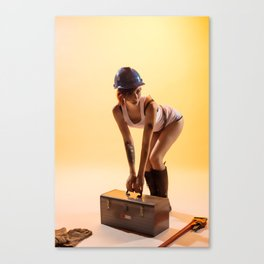 """Handywoman"" - The Playful Pinup - Hard Hat Construction Pin-up Girl by Maxwell H. Johnson Canvas Print"