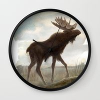 moose Wall Clocks featuring Moose by Alex Perkins