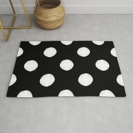 Hand Drawn Dots - White on Black - Smaller Pattern Rug