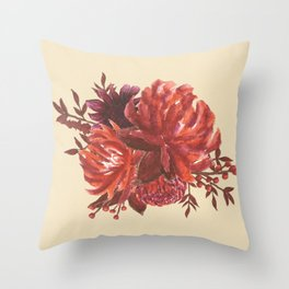 Sweet Blossom Watercolor Floral Bouquet Throw Pillow