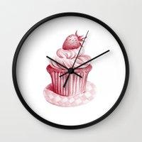 cupcake Wall Clocks featuring Cupcake by De Assuncao création