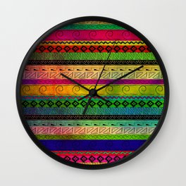Aztec Pattern Tie Dye Andes Tribal Blue Red Abstract Colors Wall Clock