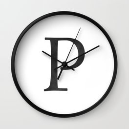 Letter P Initial Monogram Black and White Wall Clock