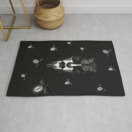 Black and white spooky girl Alien Portrait In the night with fireflies and butterfly  Rug