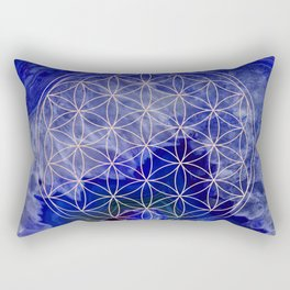 indigo agate with rose gold flower of life Rectangular Pillow