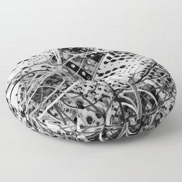 analog synthesizer  - diagonal black and white illustration Floor Pillow