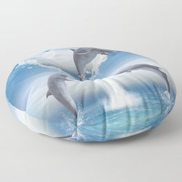 The Heart Of The Dolphins Floor Pillow
