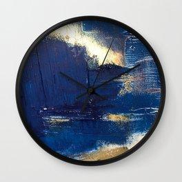 Halo [2]: a minimal, abstract mixed-media piece in blue and gold by Alyssa Hamilton Art Wall Clock