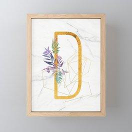 Modern glamorous personalized gold initial letter D, Custom initial name monogram gold alphabet prin Framed Mini Art Print
