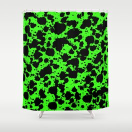 Bright Green and Black Leopard Style Paint Splash Funny Pattern Shower Curtain