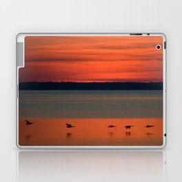 A flock of geese flying north across the calm evening waters of the bay Laptop & iPad Skin