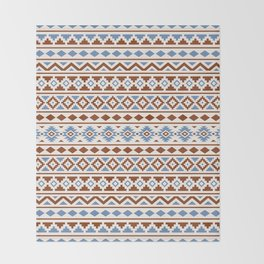 Aztec Essence Pattern II Rust Blue Cream Throw Blanket