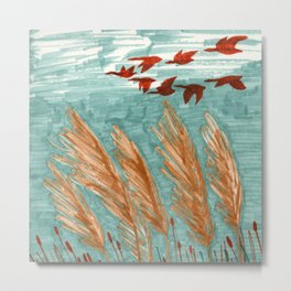Geese Flying over Pampas Grass Metal Print
