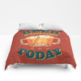 Beer is what i need today, vintage poster, red Comforters